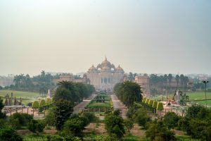 Facade of a temple Akshardham in Delhi, India